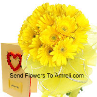 Bunch Of 18 Yellow Gerberas With A Free Love Greeting Card