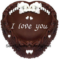 1 Kg (2.2 Lbs) Heart Shaped Chocolate Cake