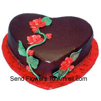 1 Kg (2.2 Lbs) Heart Shaped Chocolate Truffle Cake
