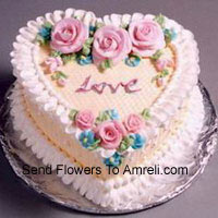 product1 Kg (2.2 Lbs) Heart Shaped Vanilla Cake