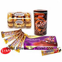 product5 Five Star Chocolates For Price Of 4, 16 Pcs Ferrero Rocher, A Box Of Cadbury's Fruit And Nut And A Box Of Choco Twisters (This Product Needs To Be Accompanied With The Flowers)