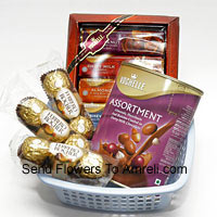 product3 Small Packs Of 3 Pcs Ferrero Rocher Accompanied With Two Boxes Of Imported Vochelle Chocolate (This Product Needs To Be Accompanied With The Flowers. Also Note That We Will Replace Vochelle With Any Other Chocolates Of Equal Value In Case Of Non-Availability)
