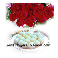 Bunch Of 12 Red Roses And 1 Kg Rasogulla