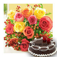 Bunch Of 12 Mixed Colored Roses With Seasonal Fillers and 1/2 Kg (1.1 Lbs) Chocolate Truffle Cake
