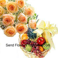 productBunch Of 12 Orange Roses With 3 Kg Fresh Fruit Basket