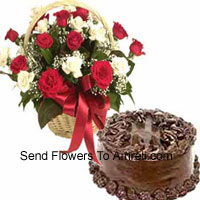 productBasket Of 24 Mixed Colored Roses And A 1 Kg (2.2 Lbs) Chocolate Cake