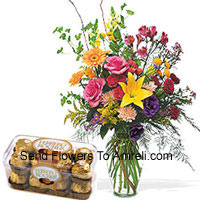 Assorted Flowers In A Vase With 16 Pcs Ferrero Rocher