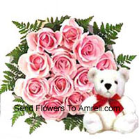 Bunch Of 12 Pink Roses With A Cute Teddy Bear