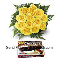 Bunch Of 12 Yellow Roses And A Box Of Chocolate