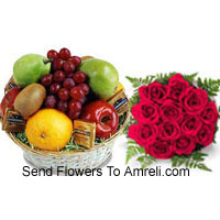 Bunch Of 12 Red Roses With 5 Kg (11 Lbs) Fresh Fruit Basket