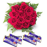 productBunch Of 12 Red Roses With Assorted Chocolates