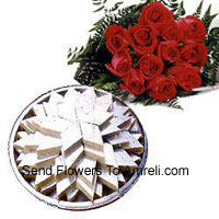Bunch Of 12 Red Roses With 1 Kg (2.2 Lbs) Kaju Katli