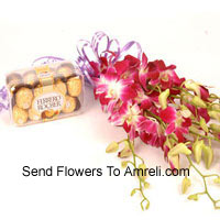 Bunch Of Orchids With 16 Pcs Ferrero Rocher