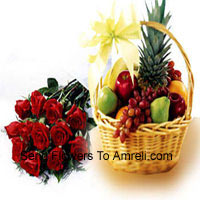 productBunch Of 12 Red Roses With 5 Kg (11 Lbs) Fresh Fruit Basket