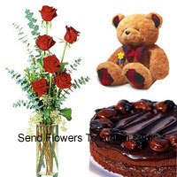 6 Red Roses In A Vase With 1/2 Kg (1.1 Lbs) Chocolate Cake and a Medium Sized Cute Teddy Bear