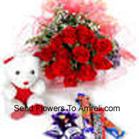 productBunch Of 12 Red Roses With Assorted Chocolate And A Cute Teddy Bear