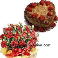Bunch Of 24 Carnations Wtith Seasonal Fillers And A 1 Kg (2.2 Lbs) Heart Shaped Butter Scotch Cake