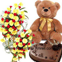 productA 3 Feet Tall Arrangement Of Assorted Flowers, 1 Kg Heart Shaped Chocolate Cake And A 2 Feet Tall Teddy Bear