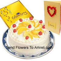product1 Kg Pineapple Cake, A Box Of Cadbury's Celebration And A Free Greeting Card