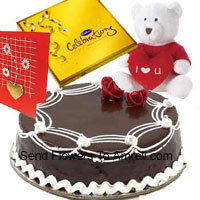 product1 Kg Truffle Cake, A Box Of Cadbury's Celebration Pack, I Love You Teddy Bear And A Free Greeting Card