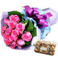 productBunch Of 12 Pink Roses With 16 Pcs Ferrero Rocher