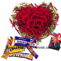 productHeart Shaped Arrangement Of 40 Red Roses, Assorted Chocolates And A Free Greeting Card