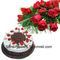 productBunch Of 12 Red Roses With 1 Kg Black Forest Cake