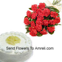Bunch Of 12 Red Carnations With 1/2 Kg Vanilla Cake