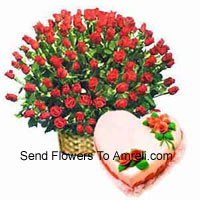 productBasket Of 200 Red Roses With 1 Kg Heart Shaped Strawberry Cake
