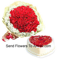 productBunch Of 100 Red Roses With Seasonal Fillers And 1 Kg Heart Shaped Pineapple Cake