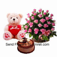 productBasket Of 24 Pink Roses, 1.5 Feet Teddy Bear And 1 Kg Chocolate Truffle Cake