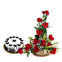 productBasket Of 30 Red Roses Along With A Yummy Half Kg Cream Cake