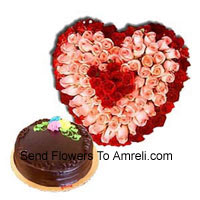 productHeart Shaped Arrangement Of 150 Roses (Red And Pink) Along With Delicious 1 Kg Chocolate Truffle Cake