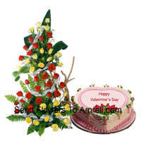 productTall Arrangement Of 100 Red Roses Along With A 1 Kg Heart Shaped Strawberry Cake