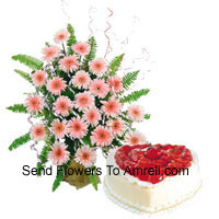 productBasket Of 24 Pink Colored Gerberas Along With A 1 Kg Heart Shaped Vanilla Cake