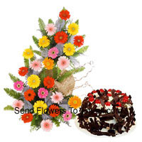 productBasket Of 25 Mixed Colored Gerberas Along With 1 Kg Chocolate Crisp Cake