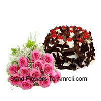 productBunch Of 12 Pink Roses Along With 1 Kg Chocolate Crisp Cake