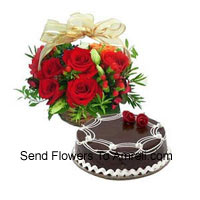 productBasket Of 12 Red Roses With 1 Kg Chocolate Truffle Cake