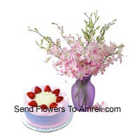 Fresh Orchids In A Vase Along With 1/2 Kg Strawberry Cake