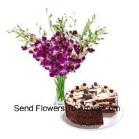 Orchids In A Vase Along With 1 Kg Black Forest Cake