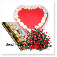 productBasket Of 100 Red Roses With 24 Pcs Ferrero Rocher and a 1 Kg (2.2 Lbs) Heart Shaped Strawberry Cake