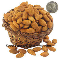 product250 Grams Almonds With A Lakshmi Ganesh Silver Coin