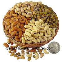 product1 Kg Assorted Dry Fruits With A Silver Lakshmi Ganesh Coin