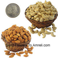 product250 Grams Almonds And 250 Grams Kaju With A Lakshmi Ganesh Silver Coin