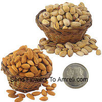 250 Grams Almonds And 250 Grams Pistachio With A Lakshmi Ganesh Silver Coin