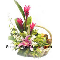 Basket Of 5 Kg (8.8 Lbs) Assorted Fresh Fruit Basket With Assorted Flowers