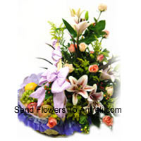 productBasket Of 3 Kg (6.6 Lbs) Assorted Fresh Fruit Basket With Assorted Flowers