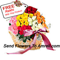Basket Of 100 Mixed Colored Roses With A Free Rakhi.