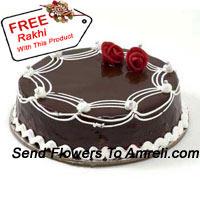 product1 Kg (2.2 Lbs) Chocolate Truffle Cake A Free A Rakhi