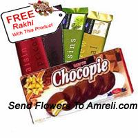 4 Different Cadbury's Temptation Chocolates Along With A Box Of Choco Pie And A Free Rakhi (This Product Needs To Be Accompanied With The Flowers)